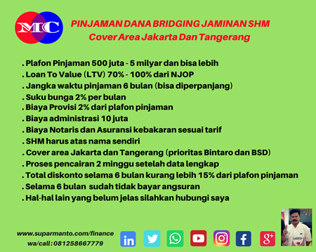 Dana Bridging Jaminan SHM di Jakarta Pusat