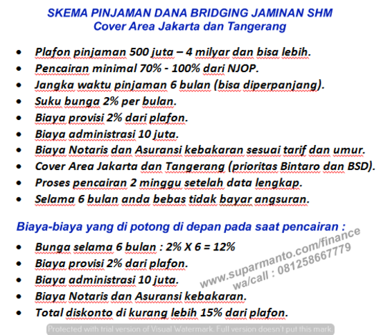 Dana Bridging Jaminan SHM di Kemang