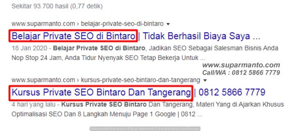 Kursus SEO Bintaro BSD Dan Tangerang
